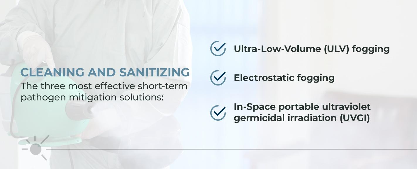 three most effective short-term pathogen mitigation solutions